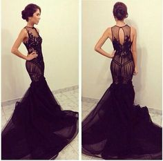 Customized Sheer Tulle With Lace Appliques Long Mermaid Back Prom Dress Open Back Long Train Vestidos De Festa 2014 Party Gown-in Prom Dresses from Apparel & Accessories on Aliexpress.com | Alibaba Group
