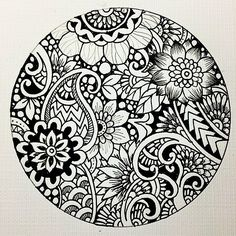 Pictures of mandalas en blanco y negro - Mandala Art, Mandalas Painting, Mandalas Drawing, Mandala Design, Mandala Coloring, Colouring Pages, Design Floral, Design Art, Doodle Drawings
