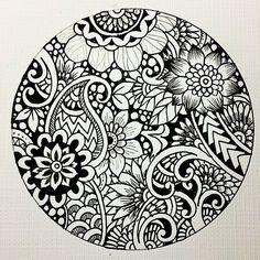 Pictures of mandalas en blanco y negro - Mandala Art, Mandala Doodle, Mandalas Painting, Mandalas Drawing, Doodles Zentangles, Zentangle Patterns, Mandala Design, Mandala Coloring, Colouring Pages
