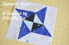 "Samurai Star tutorial by a crafty fox ~ includes a tip on making an ""extra"" half square triangle when trimming the flying goose block!"