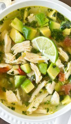 Chicken Avocado Lime Soup - this soup is AMAZING! It's loaded with avocados and . - Chicken Avocado Lime Soup – this soup is AMAZING! It's loaded with avocados and fresh lime! Paleo Recipes, Mexican Food Recipes, Cooking Recipes, Avocado Recipes, Keto Avocado, Avocado Toast, Avocado Juice, Lime Recipes, Juicer Recipes