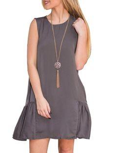 Pleated Pockets Chic Shift Dress #ClothingOnline #PlusSizeWomensClothing #CheapClothing #FashionClothing #womenswear #sexydress #womensdress #womenfashioncasual #womensfashionforwork #fashion #womensfashionwinter