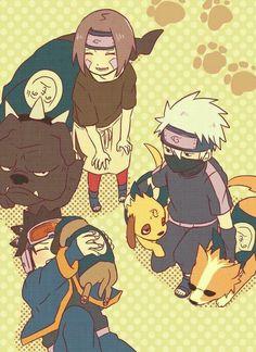 Rin, Kakashi y Obito