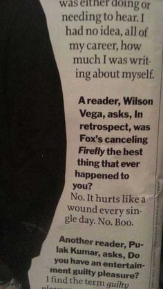 Joss Whedon on Firefly's cancellation