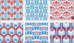 D.M.C. Point de Croix Nouveaux Dessins 3me Serie, Page 9. Art nouveau and Provençale charted cross-stitch designs. Overall patterns in blue and red