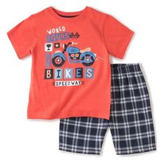 363ddde60fd32e Toddler Boys Orange and Plaid T-shirt and Short Set Clothing Outfit Sets  Baby Kids