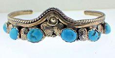 Vintage Blue Turquoise Cuff Bracelet E Spencer Navajo artist Sterling Silver  #Unbranded