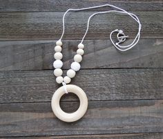 Nursing Necklace, Teething Necklace with White Crochet Beads, Wood Beads and Wood Teether Ring, Mom Jewelry - pinned by pin4etsy.com
