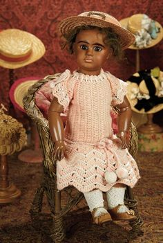 The Memory of All That - Marquis Antique Doll Auction: 80 Beautiful French Bisque Bebe by Denamur with Delicate Cafe-au-Lait Complexion