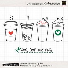 Coffee SVG Cute Iced Coffee To Go Line Art SVG DXF Cut Files
