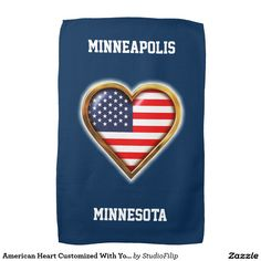 American Heart Customized With Your City And State Kitchen Towel