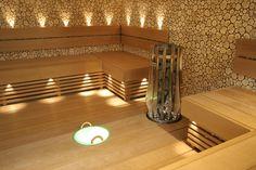 modern Finnish sauna Sauna Steam Room, Sauna Room, Sauna Lights, Infrared Sauna Benefits, Log Cabin Homes, Cabins, Aspen House, Finnish Sauna, Spa Tub