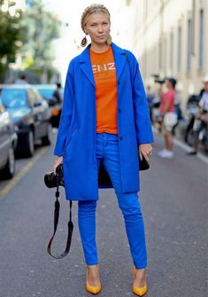 blue outfit with orange shirt