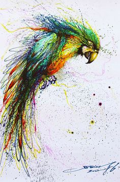 i like this colorful painting because the way the artist painted it and the way that it pops up at you. Also, that the artist used all those interesting colors and parrots in different places are like that .-rosa o