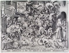 """""""Idem impetravit a deo ut magus a demonus discerperetur""""  (The same God so that he obtained of the Magus was by demons be pulled in pieces), c. 1590  Pieter Bruegel the Elder"""