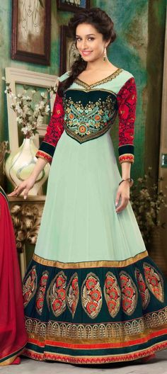 409812: Green color family semi-stiched Bollywood Salwar Kameez.