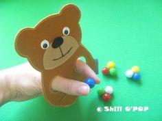 Felt Bear finger puppet toy PDF pattern by ShillOPOP on Etsy