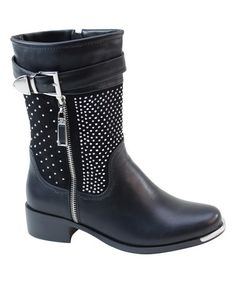 Another great find on #zulily! Black Rhinestone-Shaft Boot #zulilyfinds