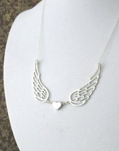 Love of An Angel, Silver Heart Silver Angel Wings Necklace, Sterling Silver Chain jewelry, Best friend, Sisters, bridesmaid gifts, www.colormemissy.com