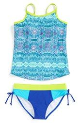Limeapple 'Maldive' Print Two-Piece Tankini Swimsuit (Big Girls)