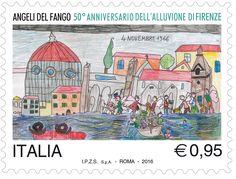 Francobollo celebrativo degli Angeli del fango, nel 50° anniversario dell'alluvione di Firenze