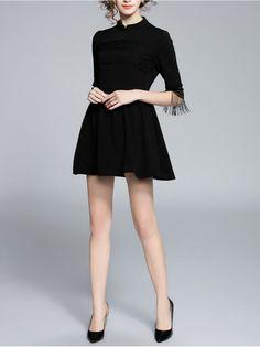 Fringed Plain Mini Dress