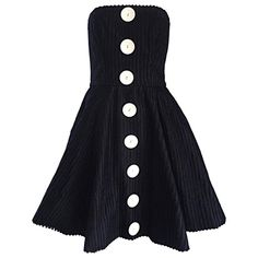 Vintage Christian Lacroix Black and White Fit n' Flare Strapless Button Dress    From a collection of rare vintage evening dresses and gowns at https://www.1stdibs.com/fashion/clothing/evening-dresses/