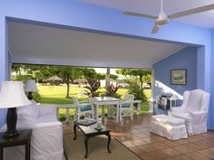 Fully furnished outdoor living area in Deluxe Verandah Suite at Jamaica Inn http://jamaicainn.com/accommodation.php