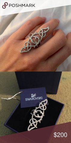 Swarovski Grace crystal ring Beautiful. Delicate. Design Inspired by lace disagree Makes your hands look elegant. Timeless. BNIB. Says size 58. It fits my size 6 ring finger perfectly. Comes in original box with tags. Swarovski Jewelry Rings