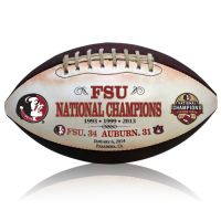 Florida State Seminoles 2013 BCS Champions football!  Handcrafted with vintage leather, the game's score, date and location, along with infamous Seminole head displayed on an antiqued white panel for lasting memories. The weathered look and feel of this throwback football will have you reminiscing Florida State's championship win every time it's in your grasp. $64.95