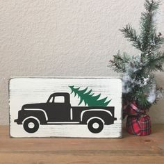 Christmas truck with tree wood sign  by SawyerLeighBoutique