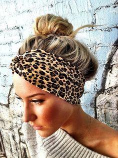 Leopard Velour twisted turban Headband Twist.