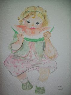 Copia in acquerello di bambina con anguria di JWS Acquerello