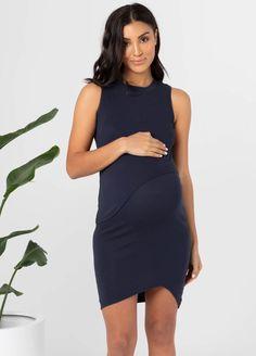 Legoe - Bellevue Nursing Dress in Navy Maternity Nursing Dress, Maternity Wear, Nursing Pads, Pre Pregnancy, Stylish Maternity, Size Model, High Neck Dress, Crop Tops, Legs