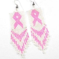 Cancer-Awareness-Handmade-Seed-Bead-Cancer-Ribbon-Earrings-Pink-and-White-BRCA2