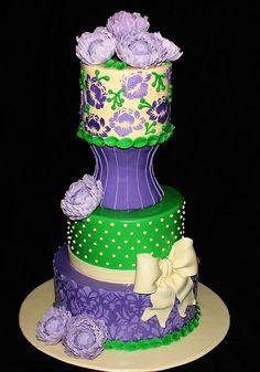 Purple Peonies Cake