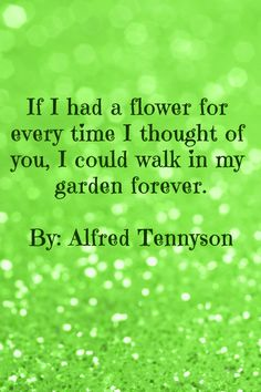 Romantic Quote - If I had a flower for every time I thought of you, I could walk in my garden forever. Alfred Lord Tennyson