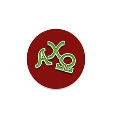"Alpha Chi Omega Button . 2.25"" . Red or Green"