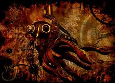 Steampunk Octopus by ~SquizZ-art #Steampunk #Apocalyptic #Gasmask