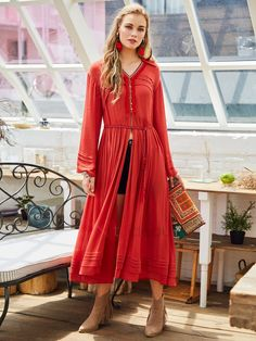 Material: Viscose Fiber Silhouette: Pleated Dress Length: Mid-Calf Sleeve Length: Long Sleeve Neckline: V-Neck Combination Type: Single Closure: Pullover Elasticity: Moderate Pattern: Plain Embellishment: Pleated,Tassel,Embroidery,Patchwork,Button Casual Dresses For Women, Clothes For Women, Women's Clothes, Cheap Clothes, Short Beach Dresses, Patchwork Dress, Boho Outfits, The Dress, Spring