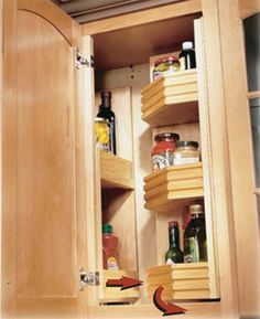 Getting organized with this site that has step-by-step instructions on how to organize your home.  This one is a Blind-corner glide-out and swing-out shelves.