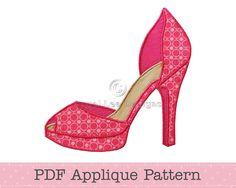 high heel paper shoe template   High Heel Shoe Applique Pattern Fancy Shoes Template Instant Download ...