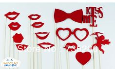 Wholesale Free shipping, 14pcs/lot DIY Photo Booth Props Glasses lips angle Kiss me On A Stick Wedding Birthday party fun favor-in Event & Party Supplies from Home & Garden on Aliexpress.com | Alibaba Group