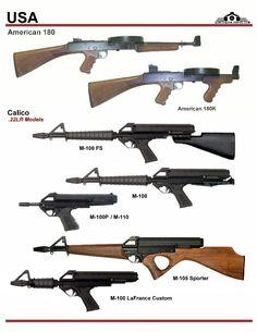 США: American 180, Calico M-100, M-110, M-105