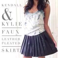 """Kendall & Kylie Faux Leather Skirt This is cute faux leather pleated skirt is cute & edgy. Great for adding extra style to an outfit.  ✨condition:good {measurements taken flat} ✨fit:true ✨waist:14"""" wide  ✨️Hips:20.5 ✨length:15"""" long ☀️100% polyester ☀️machine wash  NO TRADES NO HOLDS NO PAYPal  ✅20% off bundles of 3/more items PacSun Skirts Mini"""