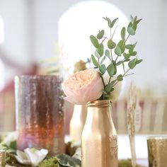 To serve as simple reception table vases, spray paint old milk bottles to compliment your florals and theme.⠀  ⠀  #weddinginspiration #inspiration #wedding #weddingbouquet #florals #nashvillewedding #nashville #southernweddings #weddingseason #nashvilleweddings #justmarried #reception #eventinspiration #diy #destinationweddings #rosegold
