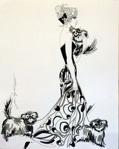 Jane Ryan 'Floral Print and Dogs' #drawing #art #design #dogs #floral #fashion #blackandwhite #JaneRyan #DukeStreetGallery Street Gallery, Ink Pen Drawings, Vogue Australia, Textile Design, Floral Prints, Illustration, Artist, Painting, Image
