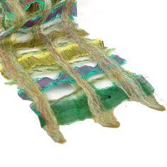 Sari Ribbon Nuno Felt Scarf in Shades of Green by Fibernique, $50.00. Beautiful colors!