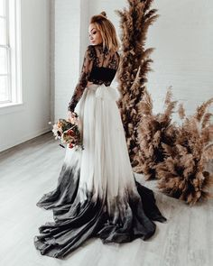 A big 2020 wedding trend are sassy ombre wedding dresses. For brides looking for alternative wedding dresses, ombre wedding dresses are perfect. Ombre Wedding Dress, How To Dress For A Wedding, Two Piece Wedding Dress, Black Wedding Dresses, Wedding Dress Styles, Black Weddings, Bouquet Wedding, Bride Dresses, The Bride