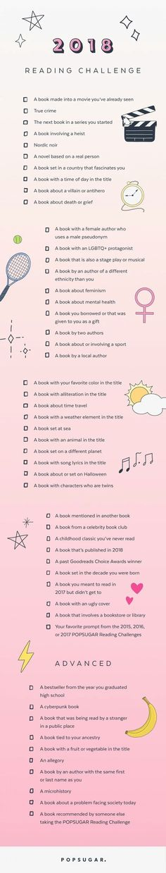 Popsugar 2018 Reading Challenge - visit their site for more details on how to join in the fun! ☺